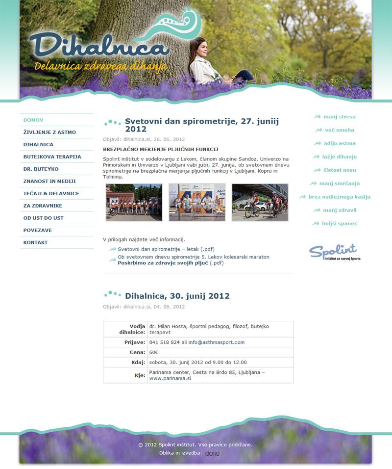 Oblikovanje in izdelava Wordpress spletne strani dihalnica.si