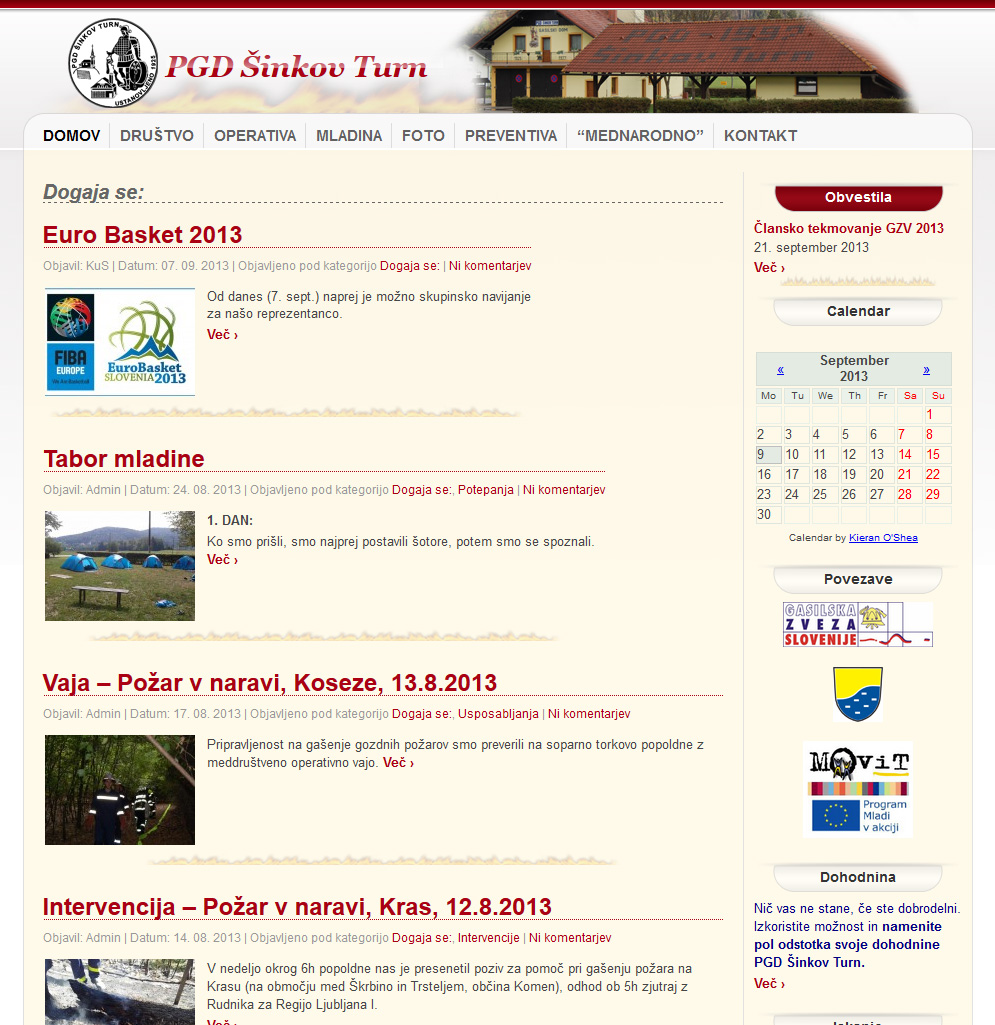 Izdelava spletne strani za PGD Šinkov Turn
