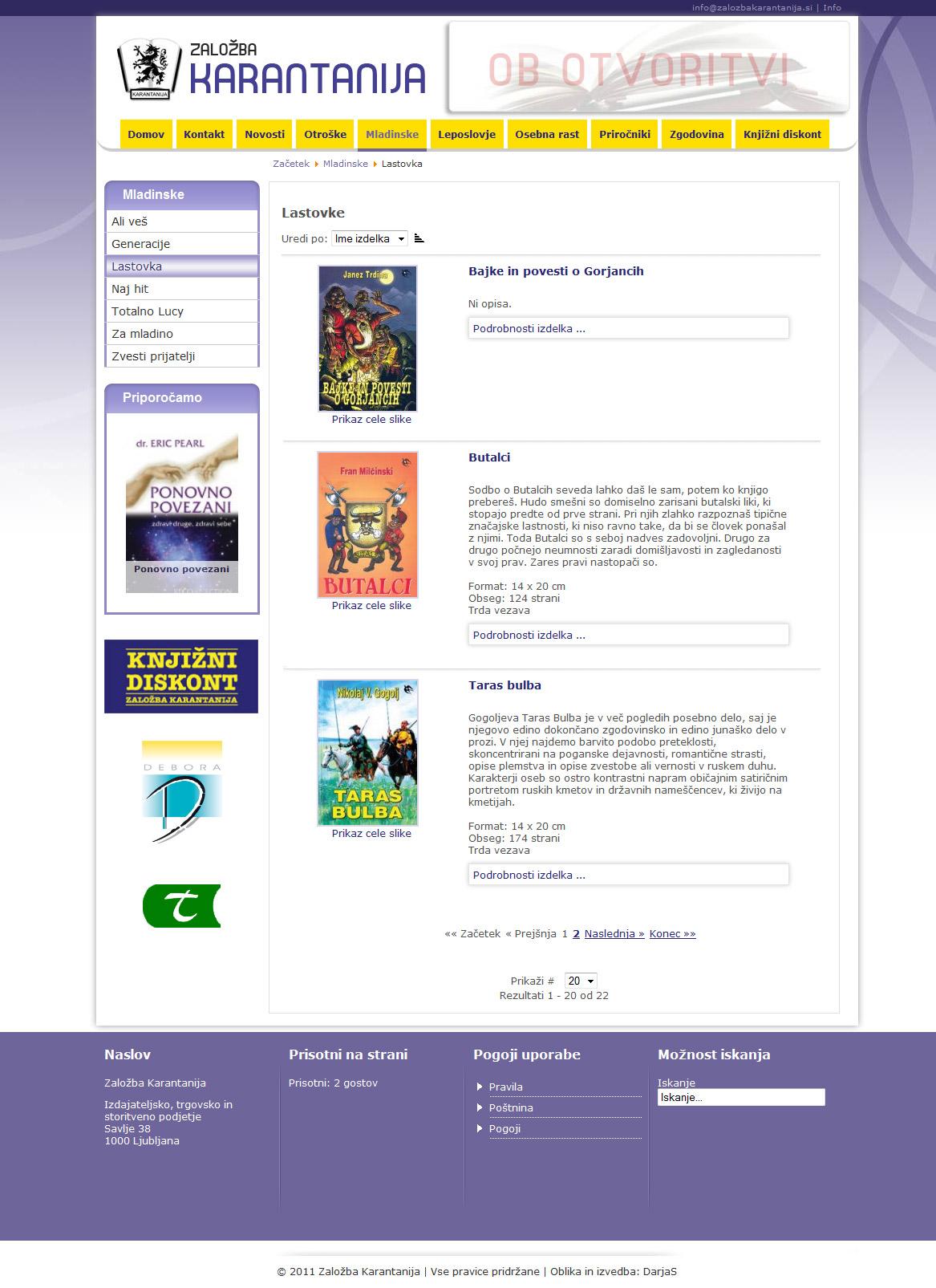 Oblikovanje predloge in izdelava spletne strani Založbe Karantanija