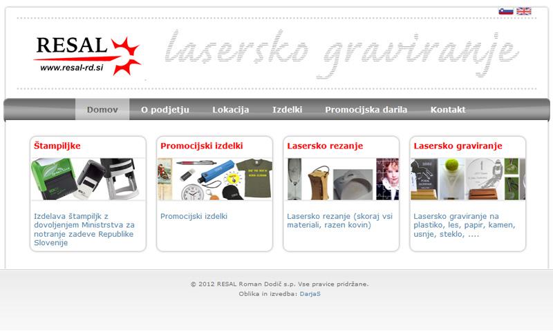 Wordpress spletna stran RESAL lasersko graviranje
