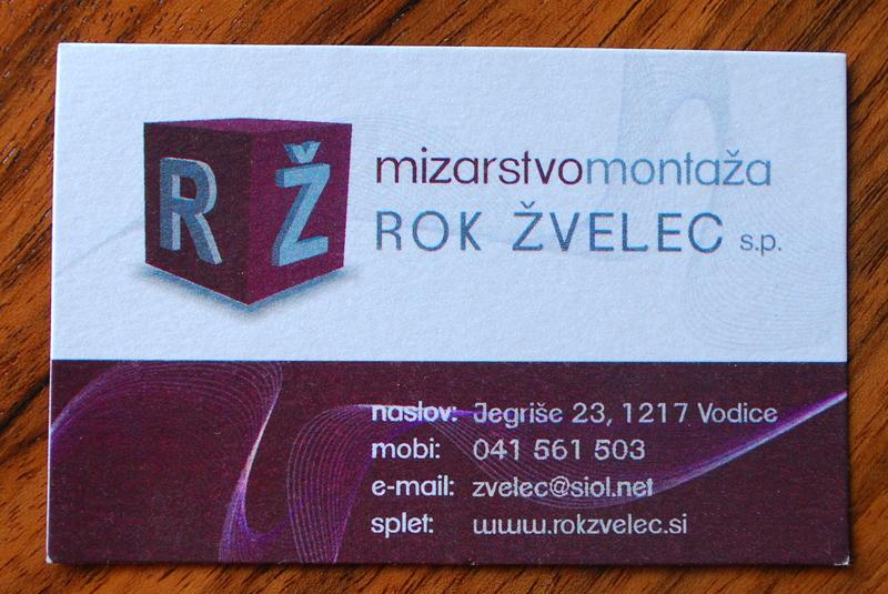 Oblikovanje vizitke Mizarstvo - montaža Rok Žvelec s.p.