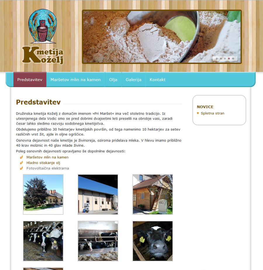 Izdelava spletne strani kmetije Koželj