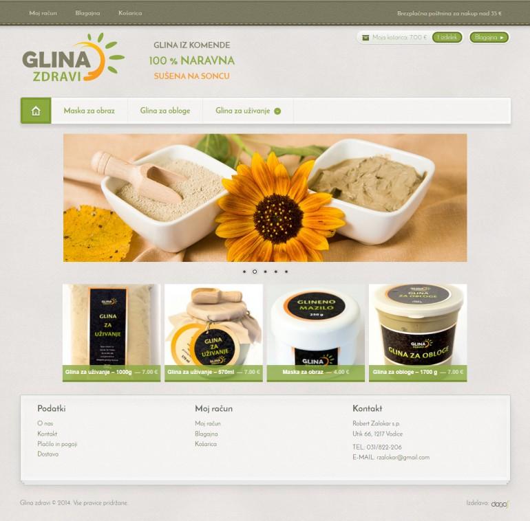 Oblikovanje in izdelava spletne trgovine glina-zdravi.si
